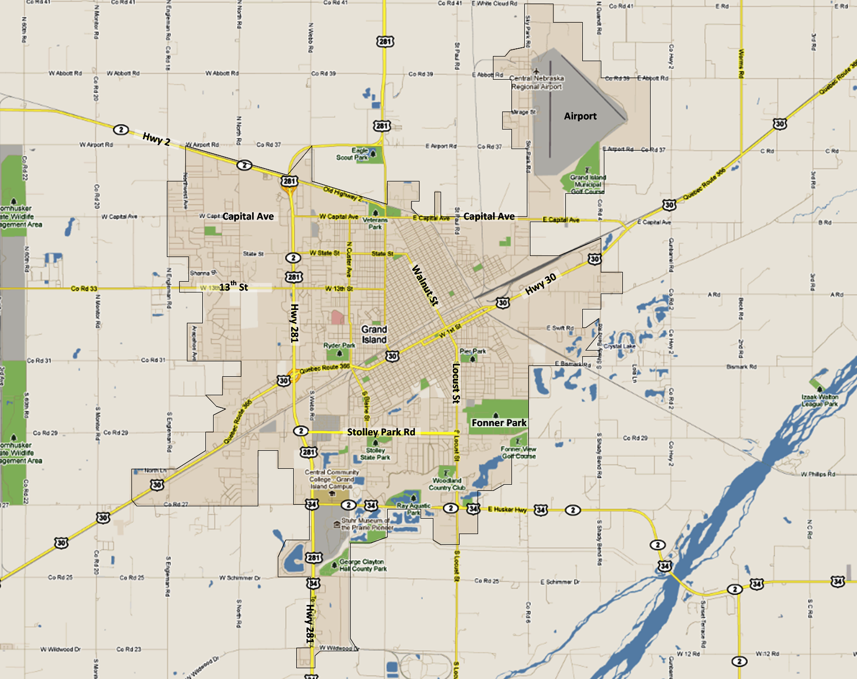 Beehive HomeBase - City map of nebraska